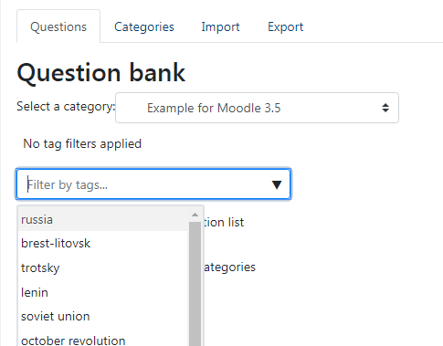 it will be possible to search for quiz questions by tag